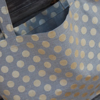 "Linen Bag ""Gold Polka Dots"" - Rustic Style"