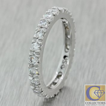Vintage Estate 14k Solid White Gold 1.05ct Diamond Eternity Wedding Band Ring A1