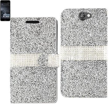 BLING Diamond Flip Case HTC One A9 SILVER