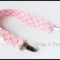 Moda Fabric Pacifier Clip, Hello Luscious Bubblegum-Toy Leash