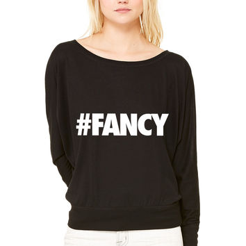 FANCY WOMEN'S FLOWY LONG SLEEVE OFF SHOULDER TEE