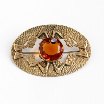 Antique Art Nouveau Brass Simulated Citrine Brooch - Vintage Edwardian 1910s Large Sash Pin Orange Glass Stone Flower Statement Jewelry