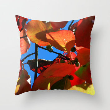 More Fall Leaves Throw Pillow by Stacy Frett