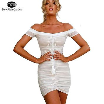 Strapless Ruched Drawstring Women Mesh Sheer Dresses Summer Off Shoulder Party Bodycon Dress Sexy Mini Club Dress New Vestidos