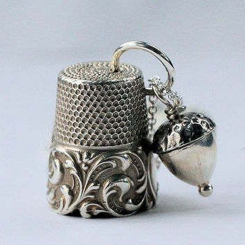 Peter Pan Thimble Kiss and Acorn Kiss Necklace Peter Pan and Wendy in Solid Sterling Silver Second Star Right