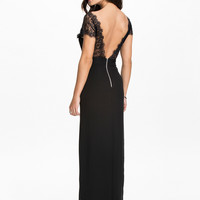 Black Chiffon with Lace Upper Backless Maxi Dress