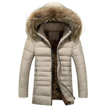 Winter Jacket Men Long Coat With Hooded Cotton Parkas Men jackets Windbreaker Fur Hat Detachable Windproof Coat For Man Clothes