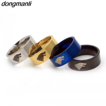 P630 dongmanli Stainless Steel ring Game of Thrones ice wolf House Stark of Winterfell men ring Dropshipping