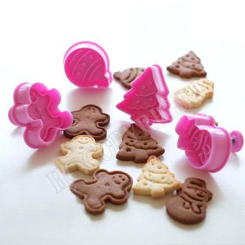 DCCKL72 4pcs/set Christmas Ginger Bread Tree Snowman Jingle Bell Decor Cake Plunger Mold Fondant Pastry Cookies Cutter Baking Mould