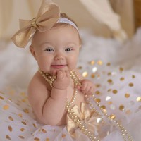 Gold and SIlver Dot Tutu Skirt and Headband Set - White