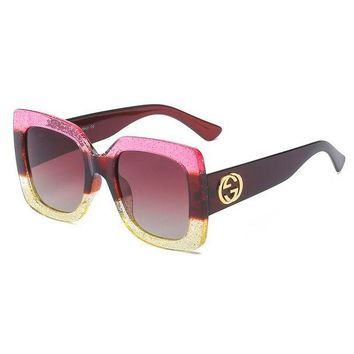 GUCCI Personality Women Cute Cool Sunglasses Pink I