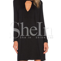Black Long Sleeve Cut Out Mini Shift Dress
