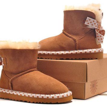 LFMON UGG 1005534 Children's Shoes Kids Cute Bowknot Women Men Fashion Casual Wool Winter Snow Boots Chestnut