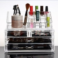 Makeup Organizer Luxury Cosmetics Acrylic Clear Case Storage Insert Holder Box with Draws:Amazon.co.uk:Beauty