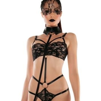 Lace Playsuit with Collared Leash