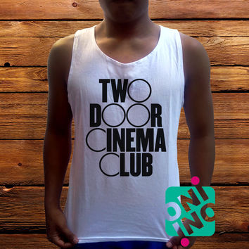 Two Door Cinema Club Logo Men's White Cotton Solid Tank Top
