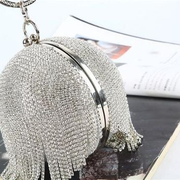 Family Friends party Board game Full Rhinestones Women's Evening Clutch Ball Bag Party Prom Wedding Tassel Purse 222-2 AT_41_3