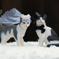 Wedding Cake Topper Cats, Bride and Groom, Animal Lover, Kitties, Top Hat, Veil, Romantic, Unique, Whimsical, Pet