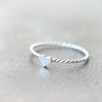 Tiny Heart Ring in sterling silver