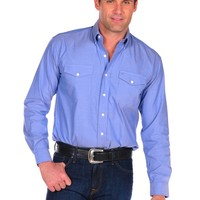 Stetson Pinpoint Oxford Shirt with Buttons and 2 Pockets in Blue - Blue