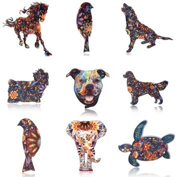 Acrylic Animal Elephant Cat Brooches Dog Horse Bird for Women Brooch Pin Fashion Dress Coat Accessories Jewelry