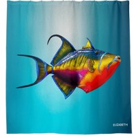 Psychedelic Colorful Triggerfish Fish Drawing Shower Curtain