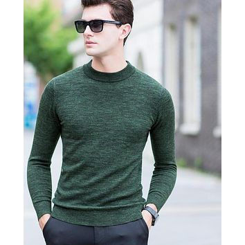 Men's Casual Wool Pullover O-Neck Long Sleeve Merino Wool Thick Warm Sweater Men Knitted Sweater