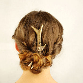 Deer hair fork antler comb pin bone deer horn natural roe wedding organic sustainable medieval gothic steampunk indie unusual country eco