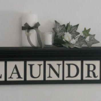 """Laundry Room Wall Decor includes 36"""" Shelf and 9 letters for LAUNDRY, Washboard and Bucket Painted Black and Linen White"""