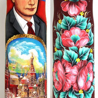 FREE SHIPPING Russian wood bottle case hand painted wood art Putin president bottle case hand curved wood original gift