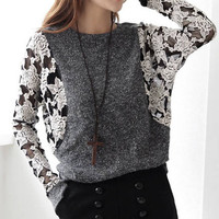 A 081915 Lace round neck long-sleeved T-shirt Bat