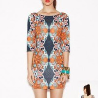Orange and Blue Geometric 3/4 Sleeves Dress