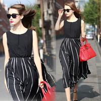 Black Sleeveless Striped Midi Dress