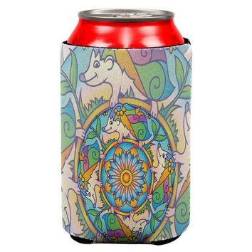 CREYCY8 Mandala Trippy Stained Glass Hedgehog All Over Can Cooler