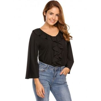 Black Solid Ruffles Front V-Neck Flare Sleeve Blouse