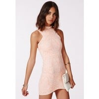 Missguided - Asha Jacquard Bodycon Dress Pink