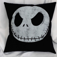 Nightmare Before Christmas Jack Skellington tshirt made into throw pillow cover.