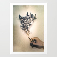 City up in smoke Art Print by Sylvan Hillebrand