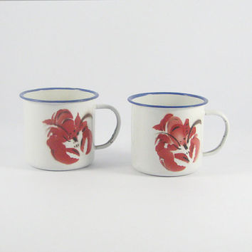 Vintage White Enamel Lobster Mugs, Coastal Decor, Nautical Design, Summer Beach Decor, Red, Blue White