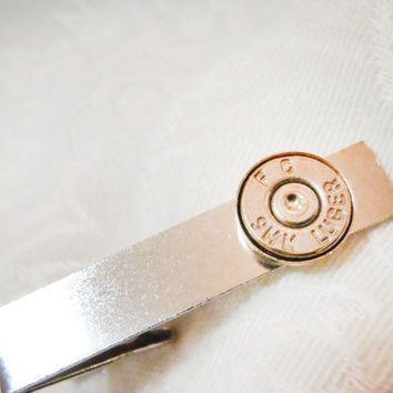 Ammo Tie Clip -  Bullet Casing Tie Tacks Pins for Men's Dress - 9mm, 45 caliber, 40 caliber, 30-30, 38, or any other caliber