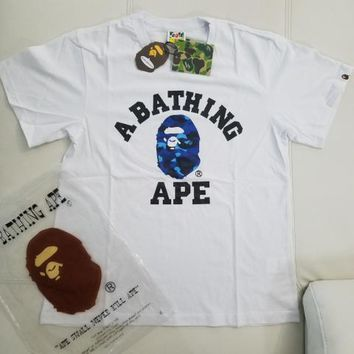 cc DCCK A Bathing Ape College Tee Blue Camo (White)