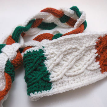 Celtic knot crocheted scarf and headband set in green, white and orange  - Trinity Crossing