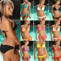 2PCS Triangle Halter Tie Top + Side tied Bottom Bikini Set Beachwear Styles = 1956456196