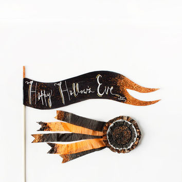 "12"" Black,Silver, Gold & Orange Hand Lettered Halloween Cake Topper Flag, Happy Hallow's Eve, Halloween Banner, Party, Wedding, Birthday,"