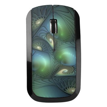 Spirals Beige Green Turquoise Fantasy Fractal Wireless Mouse