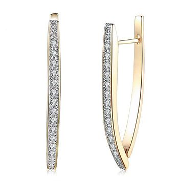Triangle Hoop Earrings Gold Plate with Swarovski Crystal
