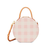 Mansur Gavriel Checker Circle Crossbody Bag - Coral Multicolor Adjustable Shoulder Strap Crossbody Bag