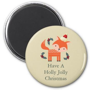 Orange Fox In Santa Hat Cute Whimsical Christmas 2 Inch Round Magnet