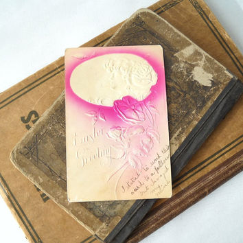 ON SALE - Easter Postcard, Vintage Greeting Card, Embossed Cameo and Flowers, Paper Ephemera
