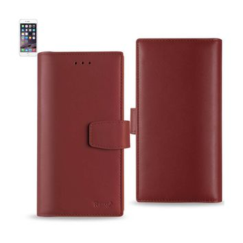 iPhone 6 Plus Genuine Leather Wallet Cases With Rfid Card Protection (Burgundy)